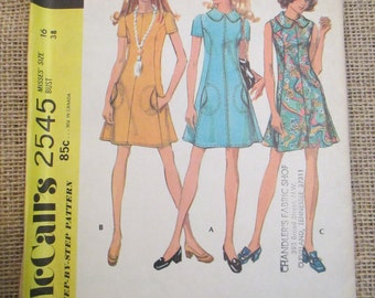 Vintage 1970's McCall's Sewing Pattern 2545 Misses Dress in Three Versions