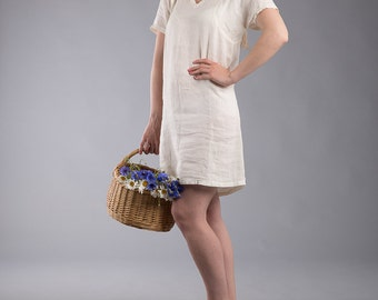 Linen Nightgown Sleepwear Tunic Washed Linen Off White Beachwear Bridal Dress Boho Bohemian  Natural Flax Dress.