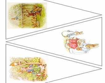 Peter Rabbit  printable Bunting template 5 pages, 15 images, digital download Beatrix Potter