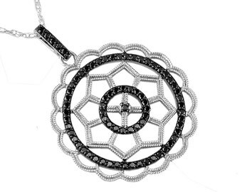 Black Diamond Pendant in 14K White Gold