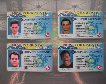 Ghostbusters [ Venkman,Spengler,Stantz, Zeddemore ] Driver License - Set of 4