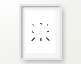 Love Arrow Print, Black And White, Nursery Print, Inspirational Quote, Motivational Typography, Modern Art, Digital Wall Print