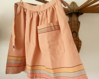 Vintage 50's Tan Peekay Half Apron With Pocket and Stitched Details.