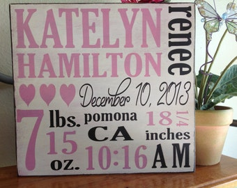 Birth announcement sign, Personalized baby sign, custom wood sign, baby room, nursery room, sign, baby stats sign, new mom gift