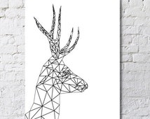 Geometric-shaped deer poster