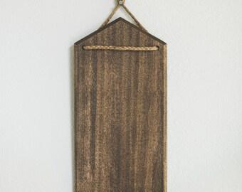 Wood Memo Board/Wall Hanging Art with Jute Braid and Walnut Finish