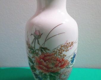 Shibata Japan 6 inch Vase Gold Colored Rim Pink Flowers