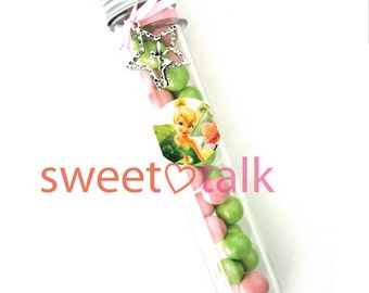 Party Favour - TINKERBELL Fairy Chocolate Candy Test Tube Bomboniere. Perfect for Tinkerbell Fairy themed Birthday Parties