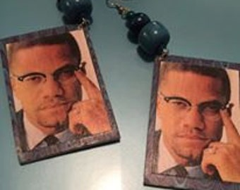 Malcolm X Earrings (Blue Rectangle)