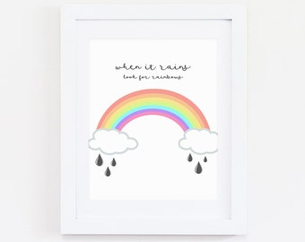 Rainbow Art, Rainbow Print, Instant Download, Digital Print,Rainbows, Rainbow quote, Nursery Print, Nursery Decor, Rain Print, Rain Drops