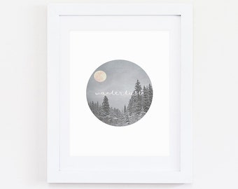 Winter Wanderlust, Instant Download, Digital Print, Circle art, Circle Print, Photography,Geometric, Geometric Art, Snow Print, Winter Print