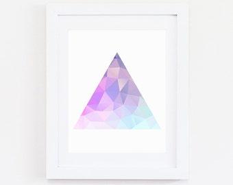 Colorful Triangle Art, Digital Print, Art Print, Geometric Print, Geometric Art, Geometric, Triangle Print, Triangle Art, Triangles, Rainbow