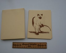 Vintage Siamese Cat Blank Note Cards with Envelopes, Cute Kittie Cat Kitten Letterhead Stationery, Lot of 10