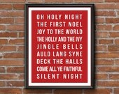 Red White Christmas Print Wall Art, Subway Art Holiday Printable, Christmas Carol, Holy Night, Digital Artwork, Christmas Poster, Home Decor