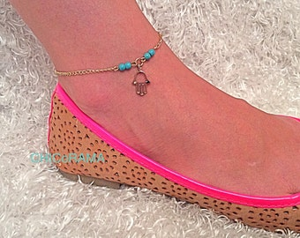 Gold Plated Hamsa Hand Anklet/ Gold Plated Hamsa Hand Charm with Turquoise Beads/ Gold Ankle Bracelet with Extension Chain