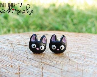 Chips nails earrings kitten Jiji (fimo) geek miyazaki ghibli kiki the little witch manga
