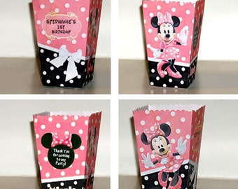 Minnie Mouse pink Polka Dots POPCORN favor BOXES (Set of 10)