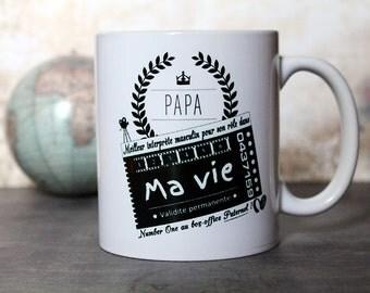 """Mug """"Papa, Oscar du meilleur interprète masculin dans ma vie"""". Tasse personnalisable. Texte et graphisme by PIOU créations. Made in France"""