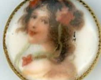 Small Porcelain Ladies head button set in metal