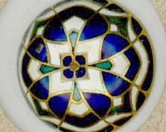 Blue Gold and White Convex  Enamel button