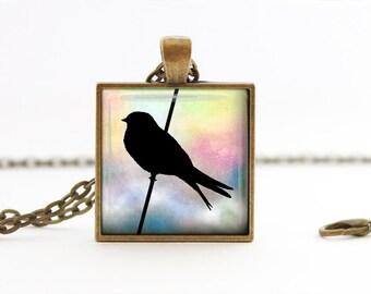 Multicolor bird - Nature Handmade Pendant Necklace