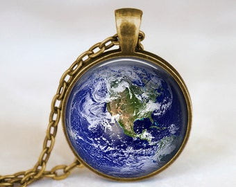 Planet Earth -  Space Planets Handmade Pendant Necklace