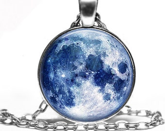 Blue Moon -  Space Magic Handmade Pendant Necklace