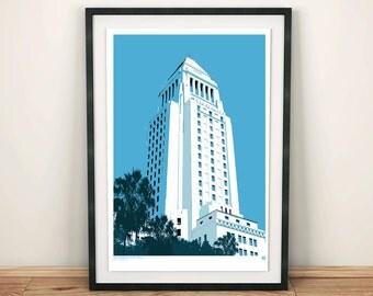 Los Angeles, LA City Hall, Architectural Print, Art print, Poster, Digital, Illustration, Wall Decor