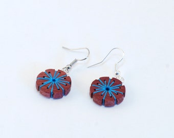 Mid century inspired reclaimed wood embroidered earrings. Purpleheart and blue, Medium.