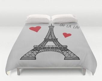Eiffel Tower Duvet Cover / Paris Love Duvet Cover  / Paris bedroom / Oh La la Duvet Cover