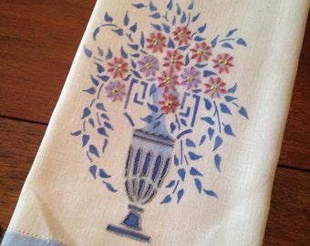 Vintage Floral/Vase Embroidered Tea Towel