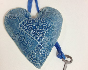 Pottery Heart with Key