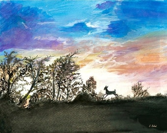 """Limited Edition Print of Watercolor, """"Twilight"""", Art Collectibles, Paintings, Watercolors, Art, Sunset Paintings, Sunset Watercolors, Deer"""