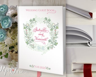 Wreath Floral Personalized Customized Rustic Wedding Flowers Wedding Guest Book Custom Guest Book Wedding Guestbook Rustic Wedding Floral
