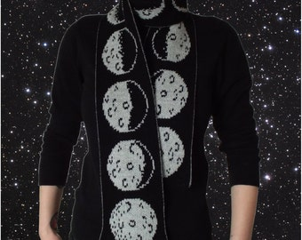 Glow in the dark MOON phases scarf