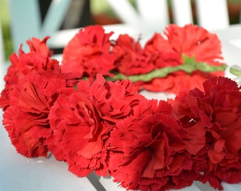 Vivid Red Carnation Flower Crown