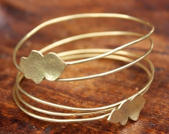Hammered Brass Bangle , Multi Wrap Bangle with Brass Leaves - Handmade