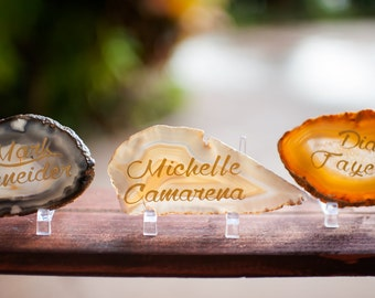 Agate Slice Geode Place Cards Setting