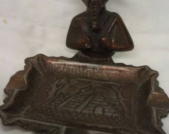 Metal Bronze Copper Egyptian Ashtray