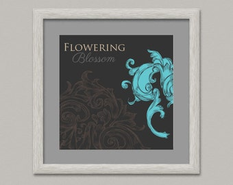 Floreus XIII, Wall Decoration Printable Digital Dark Grey Wall Art Living Room 12 inches Paper, Canvas, Floreal - OopsyIdeas