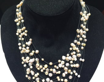 15 rows sky star white pearl necklace