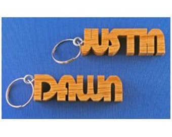 Personalized Hand Cut Wooden Key Chain