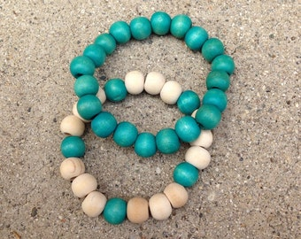 Turquoise Wooden Bracelet Set