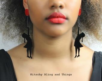 Banksy Inspired Girl with Red Balloon Earrings - laser cut acrylic earrings
