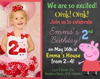 Girl Peppa Pig Birthday Invitation with Picture