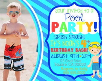 Boy Pool Party Birthday Invitation with Picture