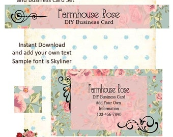 Floral Pink DIY Shop Banner Avatar and Business Card Graphics Set Instant Download