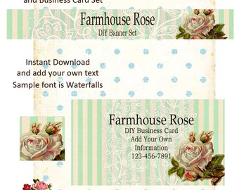 Posh Stripe DIY Shop Banner Avatar and Business Card Graphics Set Instant Download