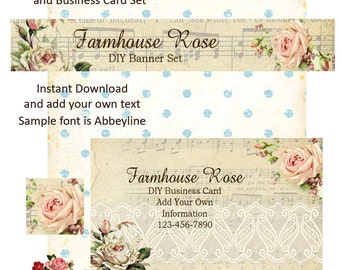 Ivory Romance DIY Shop Banner Avatar and Business Card Graphics Set Instant Download