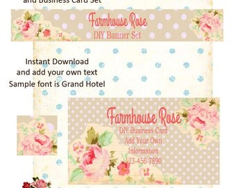 Old Garden DIY Shop Banner Avatar and Business Card Graphics Set Instant Download